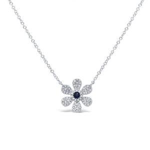 14K White Gold Natural Diamond Blue Sapphire Daisy Flower Pendant Necklace