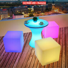 """New listing 16"""" Led Light Cube Stools Chair w/ Remote Control 16 Rgb Colors Rechargeable"""