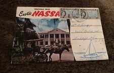 Vintage Postcard Folder Posted 1960 Greetings From Nassau In The Bahamas