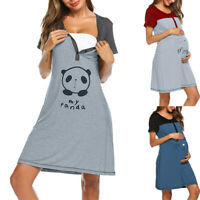 Women Maternity Short Sleeve Cute Print Nursing Nightdress Breastfeeding Dress