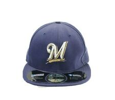 New Era Milwaukee Brewers MLB Logo Hat Cap 59FIFTY Fitted 7 1/2 Blue Made In USA