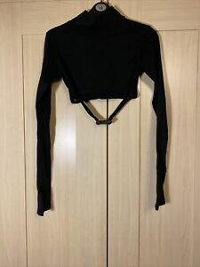 Motel Rocks Monec Crop Top Black Long Sleeves Buckle Detail Size S New With Tags