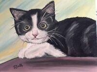 Original oil painting artwork sweet black kitten 11 x 14 signed canvas