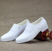 White Mens Lace Up Pointed Toe Business Formal Wedding Shoes Dress Chunky Heels