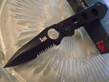 "Heckler & Koch Ally Drop Point Thin Tactical Black Pocket Knife 14440SB Aus-8 7"""