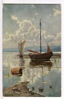 1907 Lateen Rigged Sailboat and a Sinle Masted Sailbaot Art to Postcard Signed