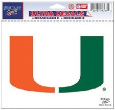 """Miami Hurricanes 5""""x6"""" Ultra Decal [NEW] Car Auto Static Cling Sticker CDG"""
