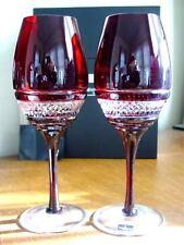 Waterford Crystal John Rocha Ruby Red VOYA White Wine Glasses Set/2 - NEW / BOX!