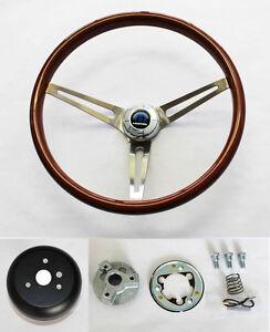 "Dodge Dart Charger Coronet High Gloss Wood Steering Wheel 15"" SS Spokes"