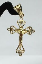 18k Solid Yellow Gold Cute Small Jesus Cross Charm/ Pendant. 1.10Grams
