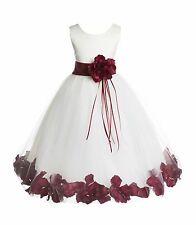 Wedding Pageant Floral Rose Petals Ivory Flower Girl Dress Tulle Princess Kids