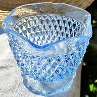 "Vintage Indiana Glass Windsor Blue Diamond Point Open Sugar Dessert Bowl 4"" USA"