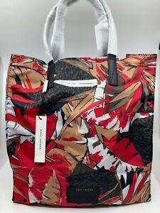 NWT Marc Jacobs Pink Multi Red Black Palm Jungle Shopper Biker Tote Shoulder Bag