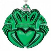 Waterford Crystal 2014 Green Claddaghorn ornament with Enhancer New # 164596