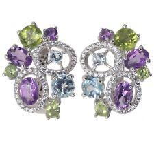 Amethyst Peridot Sky Blue Topaz Gemstone Cluster Sterling Silver Earrings