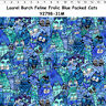 Clothworks Laurel Burch FELINE FROLIC Blue Packed Cats Y2798-31M - BTHY