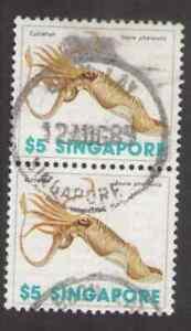Singapore. 274. $5. Cuttlefish. Sea Shells. Strip of 2. Used. 1977 -16