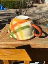 "Vintage Hand Painted VernonWare Homespun 4"" x 2.25"" Coffee Cups - Set of 2"