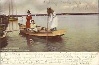 Going Crabbing - 1905 - masted ship, women crabbers