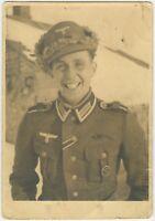 Decorated German Soldier Winter Cap Large 14.2 x 10 cm Photograph (755)