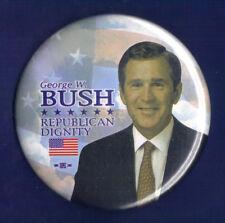 """2000 George W Bush 3""""/ """"Republican Dignity"""" Presidential Campaign Button(Pin 07)"""