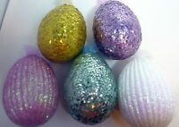 """Vintage Lot of 5 Paper Mache Large 6"""" Sparkly Bling Eggs with Ribbons Table Deco"""