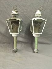 Vtg Brass Sconce Pair Coach Light Fixture Porch Lantern Beveled Glass 123-18E