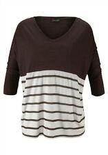 Gestreifte 3/4 Arme Damenblusen,-Tops & -Shirts mit V-Ausschnitt für Freizeit
