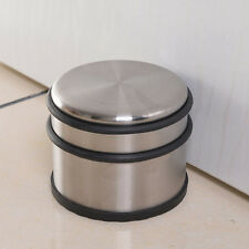 Round Heavy Duty Floor Metal Stainless Steel Door Stop Stopper Protector Rubber