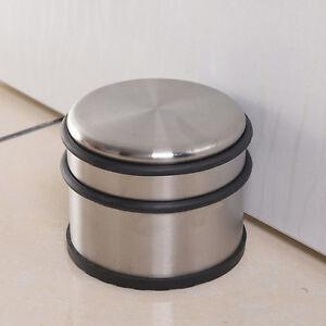 Round Heavy Duty Floor Metal Stainless Steel Door Stop Rubber Protector Rubber