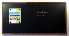 "Handsome 48"" x 24"" Framed Magnetic Black Chalk Board, Dark Frame Blackboard"