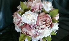 DUSKY PINK & IVORY BRIDAL BOUQUET PEONIES & ROSES
