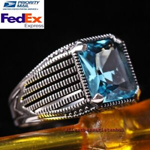 Strong Blue Aquamarine Stone Turkish Jewelry 925 Sterling Silver Mens Ring Usa