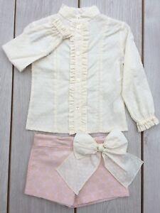 A New Romany Spanish Girls Short Set Pink Cream  Age 2-.12
