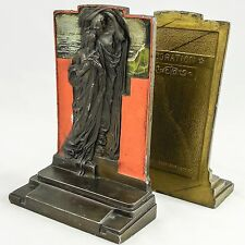 """Adoration """"Figural"""" Bookends by Pompeian Bronze Co., Cold Painted, c.1923, RARE"""