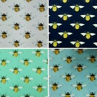 """BUMBLE HONEY BEE COTTON PRINTED FABRIC 45"""" WIDE CRAFT POPLIN FACE MASK USE D#22"""
