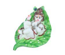INDIAN HINDU GOD BABY KRISHNA STATUE MURTI ON LEAF BAL KRISHNA