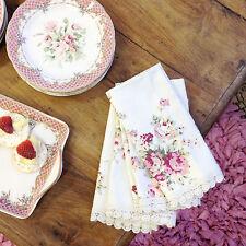 Divine Shabby Kidston Set Of 4 Cotton Elegant Lace Rose Napkins Serviettes