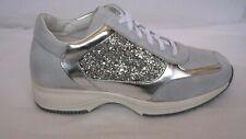 Saldi sneakers in pelle di camoscio grigio-Glitter e laminato argento N°37-41