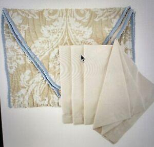 "Dennis Basso 5pc Water Mill 70"" Table Runner & 4 pc Cloth Napkin Set COASTAL"