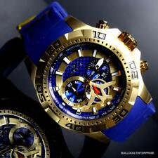 Mens Invicta Aviator Blue Gold Plated Multifunction Carbon Fiber 48mm Watch New