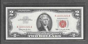 1963 - $2 AU * Fancy 3 Digits In A Row # 12231321 * Red Seal Note