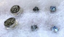 Vintage Stud 925 Sterling SILVER earring ASSORTMENT (3) pair NICE SPARKLE, COLOR
