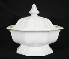 Large Antique T & R Boote White Ironstone Boote 1851 Octagonal Footed Tureen