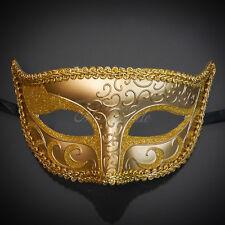 Gold Paper Mache Venetian Mardi Gras Masquerade Mask for Men M6107