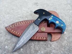 Hunting Nest Handmade Damascus steel hunting skinner knife HORN+WOOD handle 205J