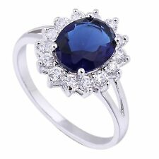 Lady Diana ´s Ring Verlobungsring Kate Middleton William royal blau silberfarbig