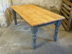 Large Antique Pine French Farmhouse Vintage Rustic Scrub Top Dining Table 6x3