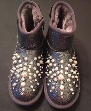 children girls winter warm boots, fur, rhinestones size 4
