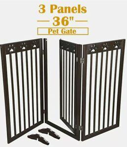 "60""x36"" Folding Pet Gate Wood Dog Fence Gate 3 Panel Playpen Baby Safety Barrier"